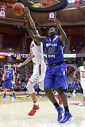 20 January 2017:  Phil Fayne(10) and TJ Bell both reach for a loose ball during an NCAA Missouri Valley Conference mens basketball game Where the Purple Aces of Evansville lost to the Illinois State Redbirds 75-73 in Redbird Arena, Normal IL