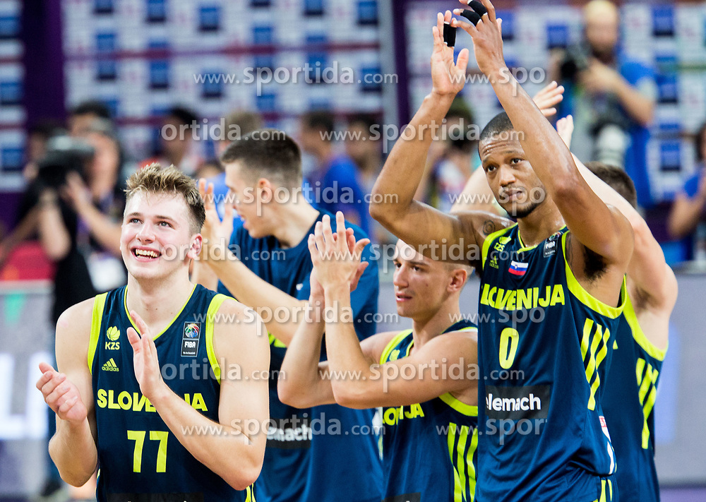 Luka Doncic of Slovenia, Matic Rebec of Slovenia, Anthony Randolph of Slovenia celebrate after winning during basketball match between National Teams of Slovenia and Spain at Day 15 in Semifinal of the FIBA EuroBasket 2017 at Sinan Erdem Dome in Istanbul, Turkey on September 14, 2017. Photo by Vid Ponikvar / Sportida