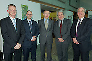 Ian Talbot CEO Chamber of Commerce Ireland,  Paul Johnston, Davis Langdon, Gerard O Toole from Westport , Barrister Gerry O Sullivan and Jeff Smith at the AGM of the Western Region of the SCSI. Photo:Andrew Downes Photography. .
