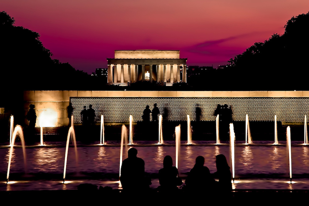 Lincoln Memorial, with tourists in foreground enjoying summer evening in Washington D.C..  Copyright 2008 Reid McNally.
