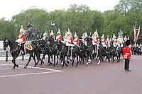 LONDON - JUNE 16: The Life Guards; The Household Cavalry Mounted Regiment attends Trooping The Colour, Buckingham Palace, London, UK. June 16, 2012. (photo by piQtured)
