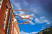 Bus stop sign, Telluride, Colorado USA