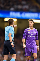 Match referee Felix Brych talks to Cristiano Ronaldo of Real Madrid during the UEFA Champions League Final match between Real Madrid and Juventus at the National Stadium of Wales, Cardiff, Wales on 3 June 2017. Photo by Giuseppe Maffia.<br /> <br /> Giuseppe Maffia/UK Sports Pics Ltd/Alterphotos