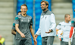 17.05.2016, St. Jakob Park, Basel, SUI, UEFA EL, FC Liverpool vs Sevilla FC, Finale, im Bild Lucas Leiva (FC Liverpool), Trainer Juergen Klopp (FC Liverpool) // Lucas Leiva (FC Liverpool), Trainer Juergen Klopp (FC Liverpool) during the Training in front of the Final Match of the UEFA Europaleague between FC Liverpool and Sevilla FC at the St. Jakob Park Stadium in Basel, Switzerland on 2016/05/17. EXPA Pictures © 2016, PhotoCredit: EXPA/ JFK