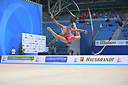 Russo Alessia during qualifying ribbon at the Pesaro World Cup April 2, 2016. Alessia is an Italian individual rhythmic gymnast, she was born in September 24 1996 Figline Valdarno, Italy.