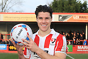 Dan Holman with his match ball during the Vanarama National League match between Cheltenham Town and Woking at Whaddon Road, Cheltenham, England on 12 March 2016. Photo by Antony Thompson.