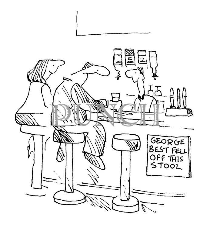 (Bar scene with 'George Best fell off this stool' sign)
