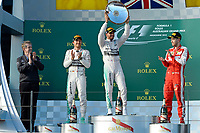 HAMILTON lewis (gbr) mercedes gp mgp w06 ambiance portrait<br /> ROSBERG nico (ger) mercedes gp mgp w06 ambiance portrait<br /> VETTEL sebastian (ger) ferrari sf15t ambiance portrait<br /> podium  during 2015 Formula 1 championship at Melbourne, Australia Grand Prix, from March 13th to 15th. Photo DPPI / Eric Vargiolu. during 2015 Formula 1 championship at Melbourne, Australia Grand Prix, from March 13th to 15th. Photo DPPI / Eric Vargiolu.