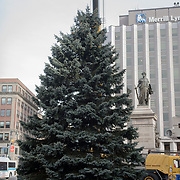 PORTLAND, Maine  11/15/18 --  This year's Christmas tree was installed today in Monument Square by crews from the Forestry Section of Portland's Parks, Recreation and Facilities Department, Keeley Crane Services and Shaw Brothers Construction. The  South Portland Fire Department donated a 40-foot blue spruce to the city of Portland  <br />
