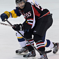 Whitby, ON - Jan 26 : Ontario Junior Hockey League Game Action between the Whitby Fury Hockey Club & Pickering Panthers Hockey Club, # 55 Mike Nedoszytko of the pickering panthers<br /> (Photo by Dave Powers / OJHL Images)