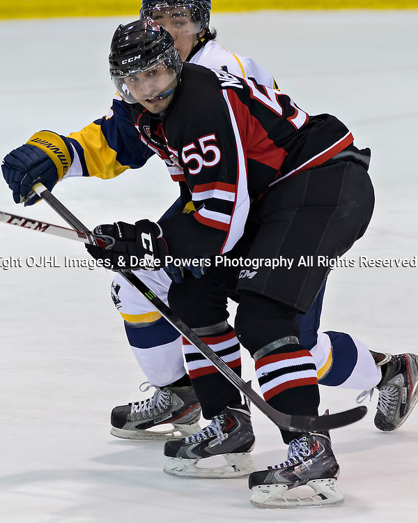 Whitby, ON - Jan 26 : Ontario Junior Hockey League Game Action between the Whitby Fury Hockey Club &amp; Pickering Panthers Hockey Club, # 55 Mike Nedoszytko of the pickering panthers<br /> (Photo by Dave Powers / OJHL Images)