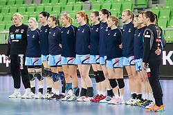 Team Slovenia during handball match between Women National Teams of Slovenia and Czech Republic of 4th Round of EURO 2012 Qualifications, on March 25, 2012, in Arena Stozice, Ljubljana, Slovenia. (Photo by Vid Ponikvar / Sportida.com)