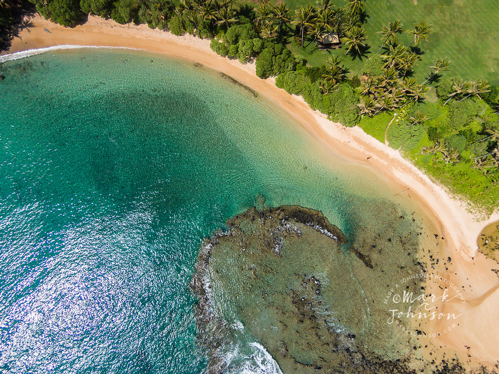 Aerial photograph of beautiful Papa'a Bay, Kauai, Hawaii