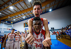 Kurtuldum Mustafa of Turkey  and Bona Adem of Turkey  celebrate after winning during basketball match between National teams of Turkey and Slovenia in the SemiFinal of FIBA U18 European Championship 2019, on August 3, 2019 in Nea Ionia Hall, Volos, Greece. Photo by Vid Ponikvar / Sportida
