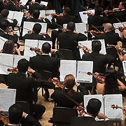 "December 12, 2012 - New York, NY : The Simón Bolívar Symphony Orchestra of Venezuela and the Westminster Symphonic Choir (not visible) perform Antonio Estévez's ""Cantata criolla"" at Carnegie Hall's Stern Auditorium / Perelman Stage on Tuesday evening.  CREDIT: Karsten Moran for The New York Times"