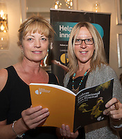 Lorraine Courtney & Orla Higgins. at the launch of the Galway International Arts Festival programme the Festival will run from the 11th to the 24th of July 2016 at the Gaslight Bar, Hotel Meyrick. Photo:Andrew Downes