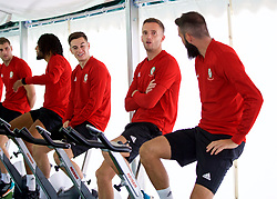 CARDIFF, WALES - Monday, September 3, 2018: Wales' Tom Lawrence and Andy King on warm-up bikes in the pre-activation tent before a training session at the Vale Resort ahead of the UEFA Nations League Group Stage League B Group 4 match between Wales and Republic of Ireland. (Pic by David Rawcliffe/Propaganda)