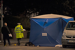 © Licensed to London News Pictures. 14/01/2019. Anerley, UK. Police tent at the scene. A mother has been killed and a child is in hosptial fighting for life after being hit by a car crossing the road in Anerley near Penge.<br />   Photo credit: Grant Falvey/LNP