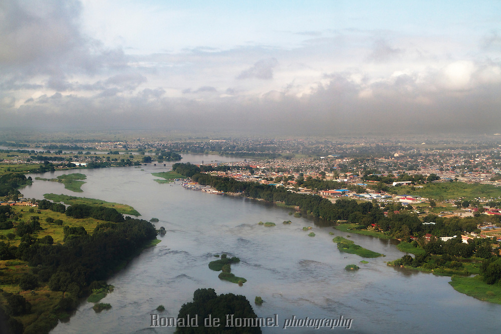 The White Nile near Juba, the Capital of the new state South Sudan. In the back the only bridge crossing the river until Khartoum thousands of kilometers further north.