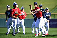 MESA, AZ - FEBRUARY 5:  Participants of the 2017 Prospect Development Pipeline Premier run drills at Sloan Park on Sunday, February 5,  2017 in Tempe, Arizona. (Photo by Jennifer Stewart/MLB Photos)