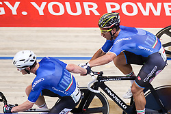 March 4, 2018 - Apeldoorn, Netherlands - Simone Consonni, Liam Bertazzo (ITA) - Men's madison .during UCI Track Cycling World Championships Apeldoorn 2018, in Apeldoorn, Netherlands, on March 4, 2018. (Credit Image: © Foto Olimpik/NurPhoto via ZUMA Press)