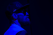 Conor McGregor waits backstage before the official UFC 189 weigh-in event at the MGM Grand Arena in Las Vegas on July 10, 2015. (Cooper Neill)