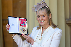 Model Lesley Lawson - Twiggy - proudly displays her Damehood following an investiture ceremony at Buckingham Palace in London. London, March 14 2019.