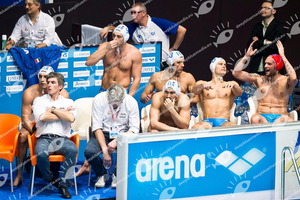 Eindhoven , Netherlands (NED) 16 - 29 January 2012.LEN European  Water Polo Championships 2012.Day 14 - Men.ITA (White) - HUN (Blue)..ITA.1 PASTORINOGiacomo.2 PEREZ Amaurys.3 GITTO Niccolo.4 FIGLIOLI Pietro.5 GIORGETTI Alex.6 FELUGO Maurizio.7 FIGARI Niccolo.8 GALLO Valentino.9 PRESCIUTTI Christian.10 FIORENTINI Deni.11 AICARDI Matteo.12 LAPENNA Federico.13 VOLAREVIC Goran..Photo G.Scala/Deepbluemedia.eu