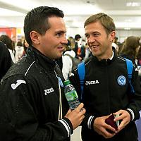 St Johnstone v Eskisehirspor....18.07.12  Uefa Cup Qualifyer<br /> Sean Higgins and Chris Millar checking in at Edinburgh Airport<br /> Picture by Graeme Hart.<br /> Copyright Perthshire Picture Agency<br /> Tel: 01738 623350  Mobile: 07990 594431