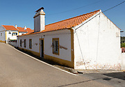 Traditional one storey houses with very large chimney pots in village of Pavia, Alentejo, Portugal, Southern Europe