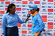 Harmanpreet Kaur of India speaks during the presentation of the first women's one day International ( ODI ) match between India and Australia held at the Reliance Cricket Stadium in Vadodara, India on the 12th March 2018<br /> <br /> Photo by Vipin Pawar / BCCI / SPORTZPICS