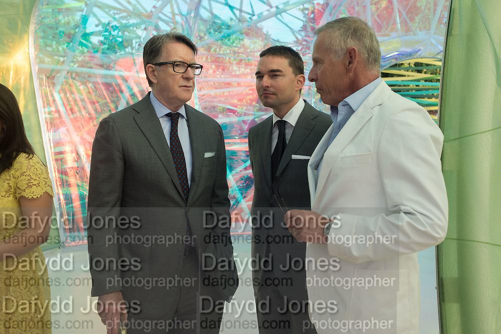 LORD PETER MANDELSON; Reinaldo Avila da Silva; Carl Michaelson, Serpentine's Summer party co-hosted with Christopher Kane. 15th Serpentine Pavilion designed by Spanish architects Selgascano. Kensington Gardens. London. 2 July 2015.
