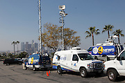 LOS ANGELES, CA - APRIL 10:  Television trucks are set up and ready to broadcast from the Los Angeles Dodgers game against the Pittsburgh Pirates on Tuesday, April 10, 2012 at Dodger Stadium in Los Angeles, California. The Dodgers won the game 2-1. (Photo by Paul Spinelli/MLB Photos via Getty Images)