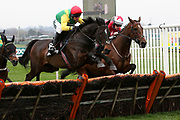Second place Supasundae & Robbie Power (Red Cap) clears the last in The Betway Aintree Hurdle Race at Aintree, Liverpool, United Kingdom on 12 April 2018. Picture by Craig Galloway.
