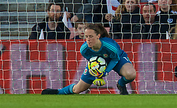 SOUTHAMPTON, ENGLAND - Friday, April 6, 2018: Wales' goalkeeper Laura O'Sullivan makes a save during the FIFA Women's World Cup 2019 Qualifying Round Group 1 match between England and Wales at St. Mary's Stadium. (Pic by David Rawcliffe/Propaganda)