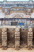 Ancient stone mythical creatures and gargoyles on Palazzo Nicolaci di Valladorata in Baroque Noto city, Sicily