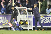 AFC Wimbledon manager Neal Ardley with arms open during the EFL Sky Bet League 1 match between AFC Wimbledon and Wigan Athletic at the Cherry Red Records Stadium, Kingston, England on 16 December 2017. Photo by Matthew Redman.