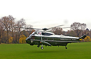 Presidential helicopter departs with President George W Bush and wife Laura Bush on board after his visit to Britain