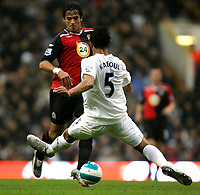 Photo: Tom Dulat.<br /> <br /> Tottenham Hotspur v Blackburn Rovers. The FA Barclays Premiership. 28/10/2007.<br /> <br /> Roque Santa Cruz of Blackburn Rovers and Younes Kaboul of Tottenham Hotspur with the ball.