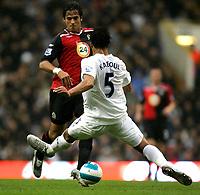 Photo: Tom Dulat.<br /> <br /> Tottenham Hotspur v Blackburn Rovers. The FA Barclays Premiership. 28/10/2007.<br /> <br /> Roque Santa Cruz of Blackburn Rovers and Younes Kaboul of Tottenham Hotspur with the ball.