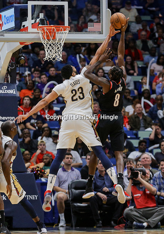 Mar 27, 2018; New Orleans, LA, USA; New Orleans Pelicans forward Anthony Davis (23) blocks a shot by Portland Trail Blazers forward Al-Farouq Aminu (8) during the first quarter at the Smoothie King Center. Mandatory Credit: Derick E. Hingle-USA TODAY Sports