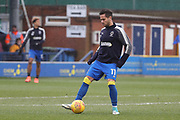 AFC Wimbledon attacker Harry Forrester (11) warming up during the EFL Sky Bet League 1 match between AFC Wimbledon and Northampton Town at the Cherry Red Records Stadium, Kingston, England on 10 February 2018. Picture by Matthew Redman.