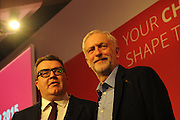 Labour Party Leadership Conference<br /> QE11 Centre, Westminster, London.Westminster<br /> Conference called to announce the results of the elections for position of Labour Party leader and deputy leader.<br /> <br /> Newly elected deputy leader and leader of the Labour party.<br /> L-R Tom Watson and Jeremy Corbyn