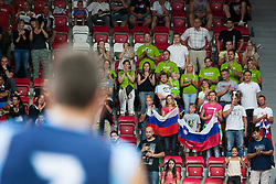 Fans of Slovenia team during friendly match between National teams of Slovenia and Bosnia and Herzegovina for Eurobasket 2013 on August 16, 2013 in Podmezakla, Jesenice, Slovenia. (Photo by Urban Urbanc / Sportida.com)