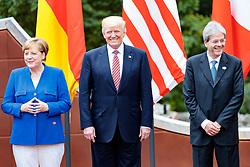26.05.2017, Taormina, ITA, 43. G7 Gipfel in Taormina, im Bild v.l. Deutschlands Bundeskanzlerin Angela Merkel, US Präsident Donald Trump, Italiens Premierminister Paolo Gentiloni // f.l. German Chancellor Angela Merkel US President Donald Trump Italy's Prime Minister Paolo Gentiloni during the 43rd G7 summit in Taormina, Italy on 2017/05/26. EXPA Pictures © 2017, PhotoCredit: EXPA/ Johann Groder