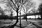 Queens Bridge Park in the borough of Queens in New York City.