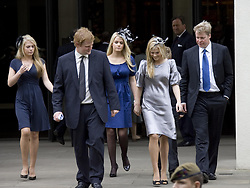 George McCorquodale, Lady Eliza Spencer, 15, her twin sister Lady Katya Amelia Spencer, 15, Kitty Spencer Lord Spencer, and Viscount Althorp, 13, outside the Service of Thanksgiving for the life of Diana, Princess of Wales, at the Guards' Chapel, London.