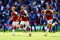 Sead Kolasinac of Arsenal and his teammates celebrate after winning the penalty shootout to lift the Community Shield - Rogan Thomson/JMP - 06/08/2017 - FOOTBALL - Wembley Stadium - London, England - Arsenal v Chelsea - FA Community Shield.