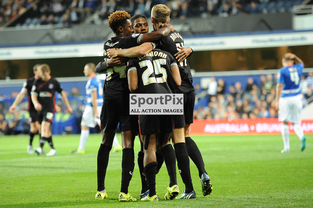 The Carlisle players celebrate  Derek Asamoah opening goal during Queens Park Rangers v Carlisle Captial One Cup 2nd round tie on Tuesday 25th August