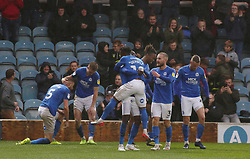 Mohamed Eisa of Peterborough United is mobbed by team-mates after scoring a late equalising goal - Mandatory by-line: Joe Dent/JMP - 26/10/2019 - FOOTBALL - Weston Homes Stadium - Peterborough, England - Peterborough United v Coventry City - Sky Bet League One